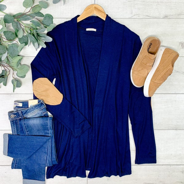 Solid Cardigan w/Elbow Patches, Navy
