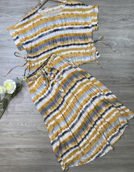 Tie Dye Top and Skirt Set, Marigold *Final Sale*