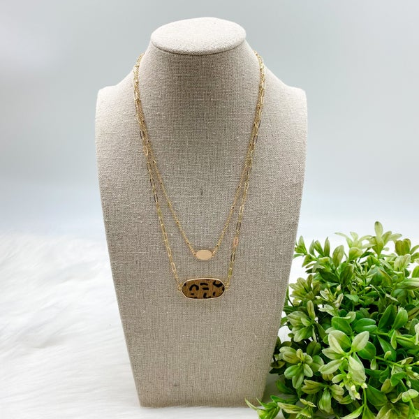 Short Layered Necklace, Brown Leopard *Final Sale*