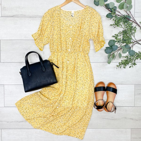 Floral Button Front  Midi Dress,  Yellow