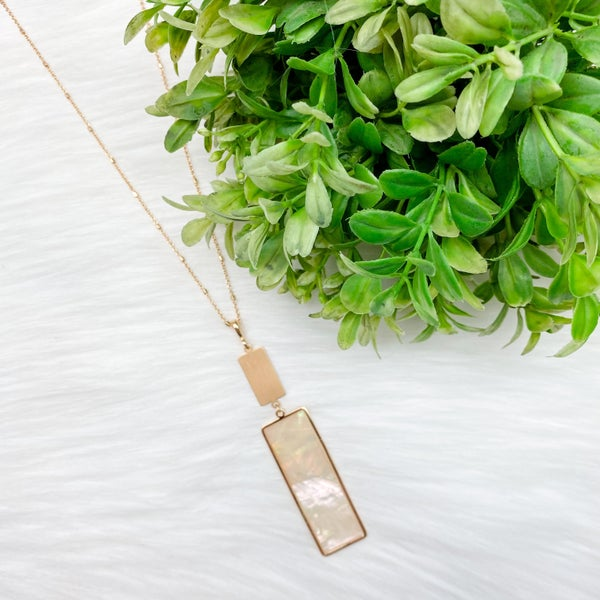 Rectangle Resin Necklace, Pearl *Final Sale*