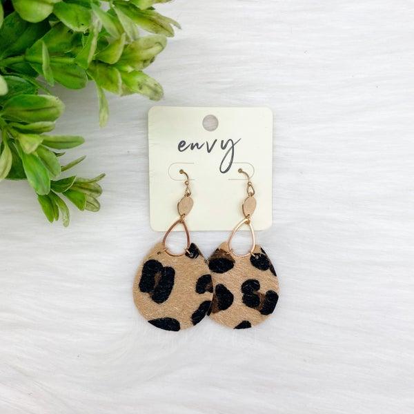 Animal Print Tear Drop Earrings