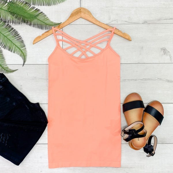 Criss Cross Neck Cami, Coral