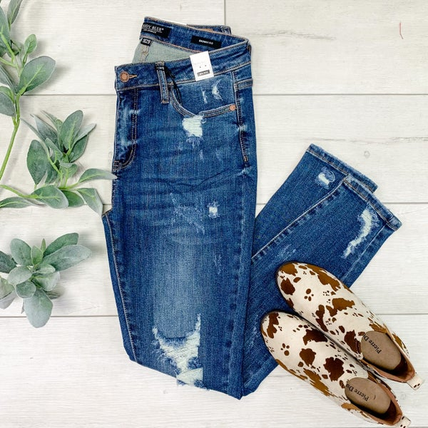 *JUDY BLUE* Mid-rise Distressed Skinny Denim, Medium