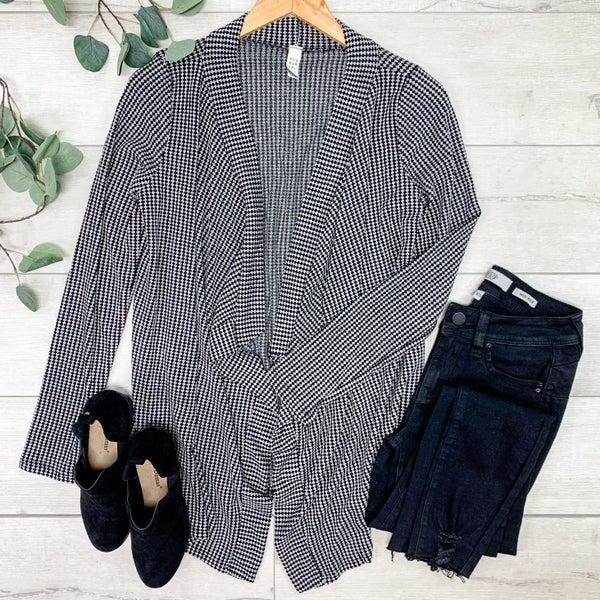 Striped Waffle Knit Cardigan, Black