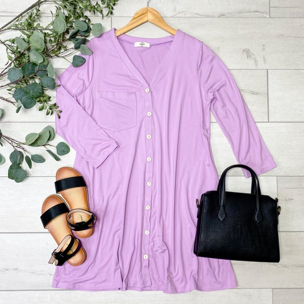 Front Pocket Button Down Dress, Lilac