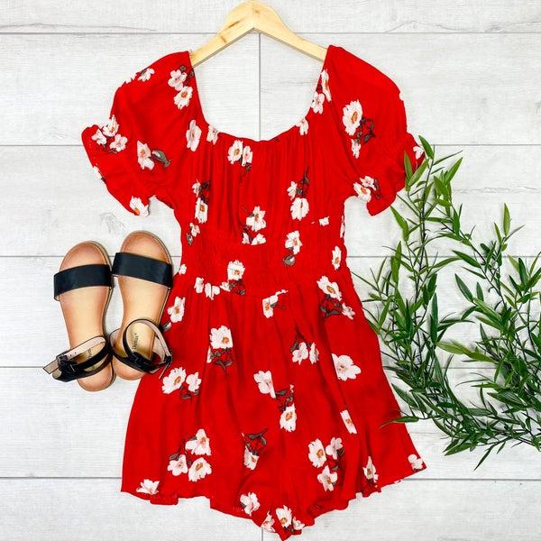 Floral Romper, Red
