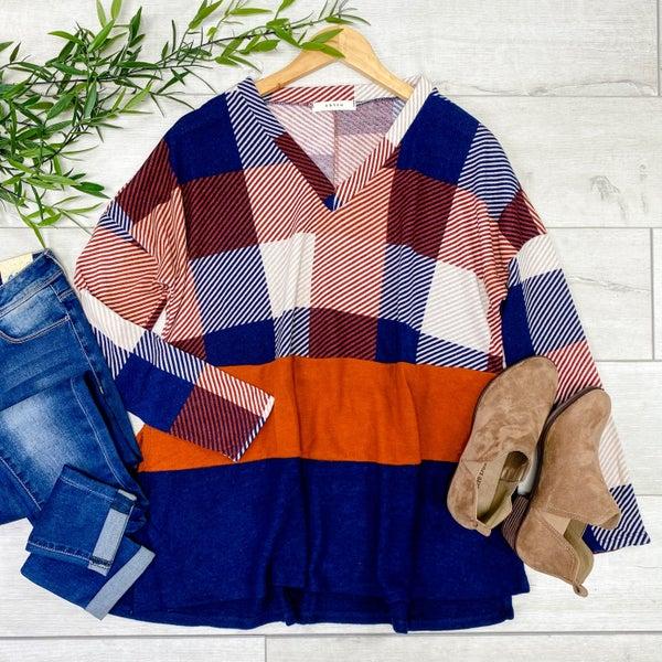 Plaid Color Block V-Neck Tunic Top, Rust