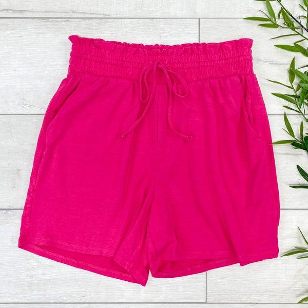 Drawstring Waist Paperbag Shorts,  Hot Pink