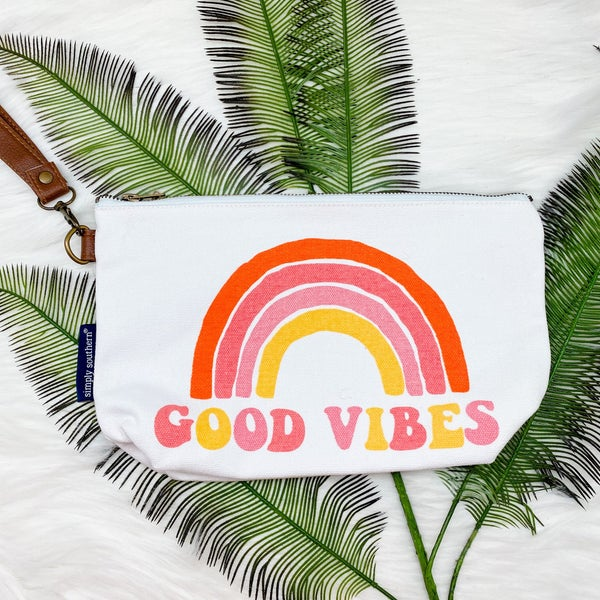Simply Southern Canvas Pouch, Good Vibes