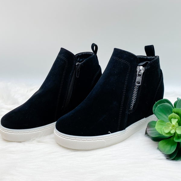 *Shoe Collection* High Top Sneaker Wedge, Black