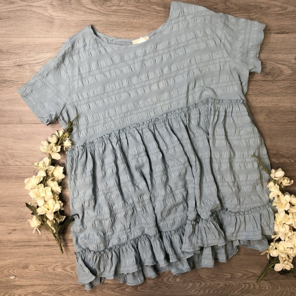 *Kendra's Collection* PLUS  Ruffle Top Seafoam