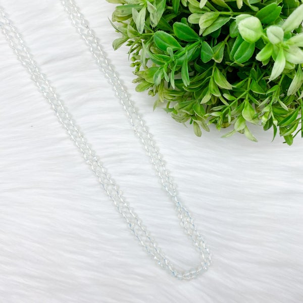"Crystal Beaded 80"" Long Wrap Necklace, Clear *Final Sale*"