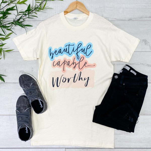 *Kendra's Collection* Beautiful Graphic Tee, Cream