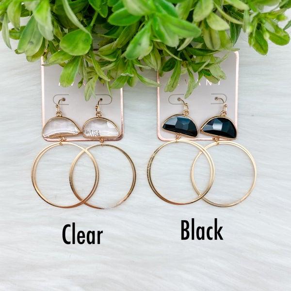 Double Hoop Earrings w/ Stone