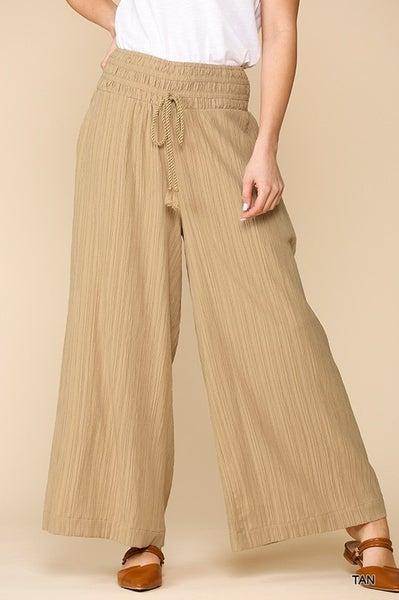 Wide Leg Pleated Waist Band Pants - TAN