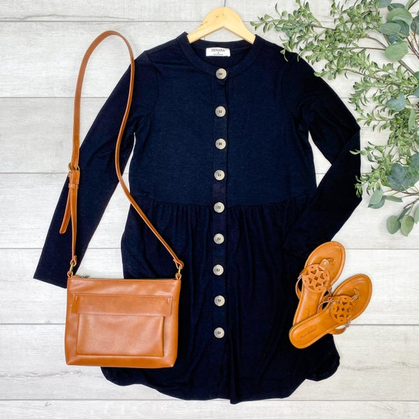 Babydoll Buttoned Cardigan, Black [[$18--LIVE]]