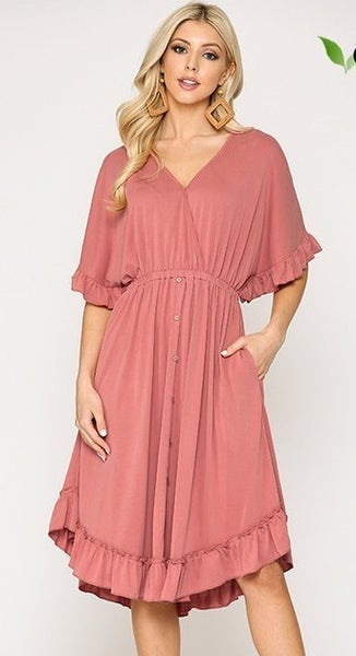 Modal Button Down Ruffle V-Neck Dress - LT ROSE