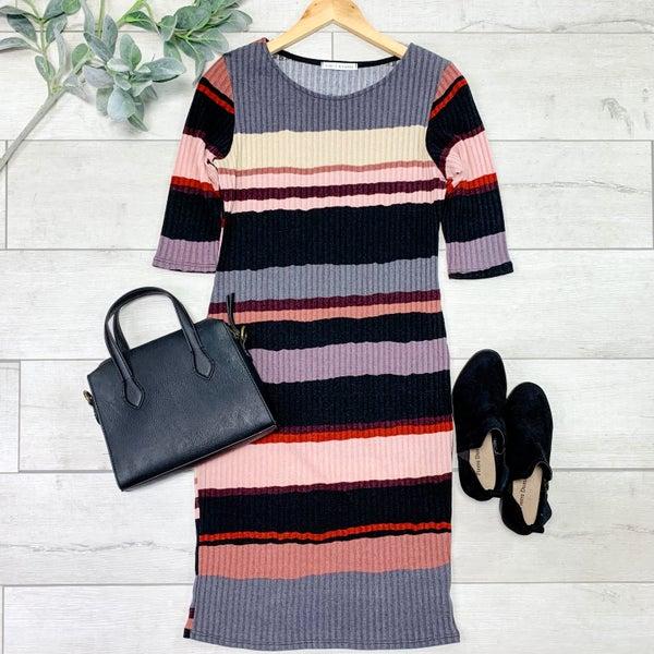 Ribbed Striped Dress, Mauve *Final Sale*