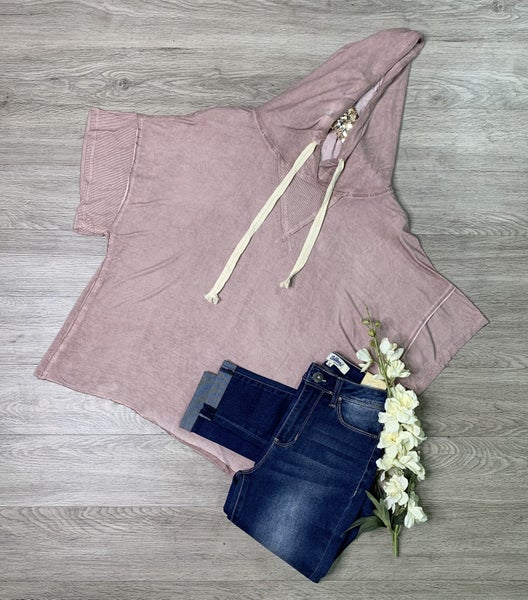 *Kendra's Collection* Wide Sleeve Knit Hoodie, Wood Rose *Final Sale*