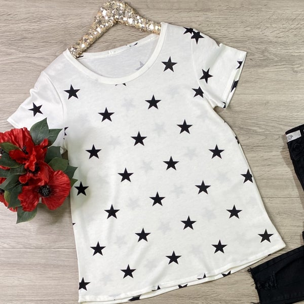*Kendra's Collection* Star Print Top, White