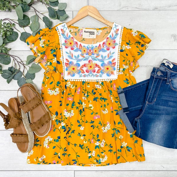 Floral Embroidered Top, Marigold