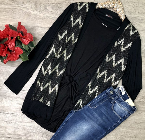 Chevron Cardigan, Black *Final Sale*