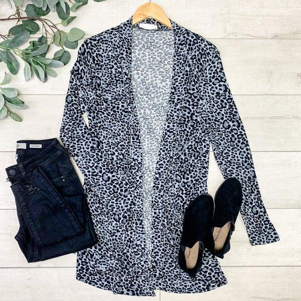 Leopard Print Cardigan, Gray