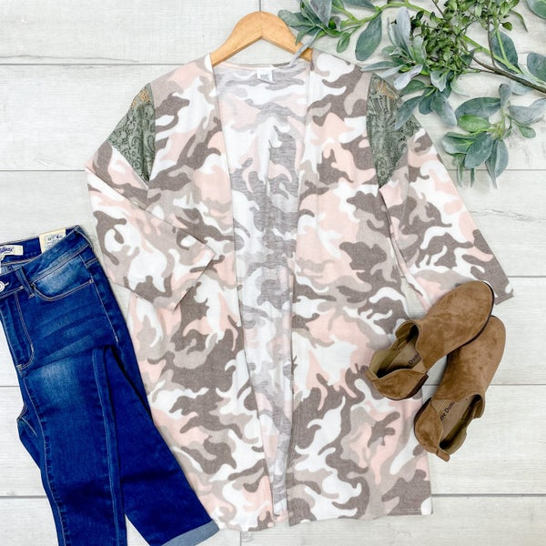 Brushed Knit Camo Cardigan, Pink