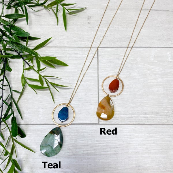Long Natural Stone Hoop Necklace