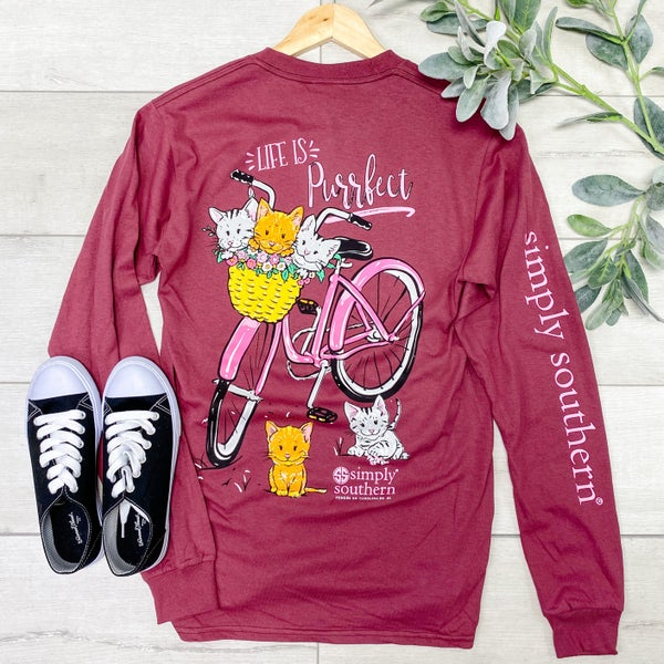 *Simply Southern* LS Life is Purrfect Tee, Maroon
