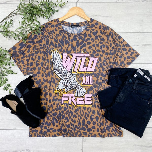 *Kendra's Collection* Wild & Free Leopard Print Graphic Tee, Brown