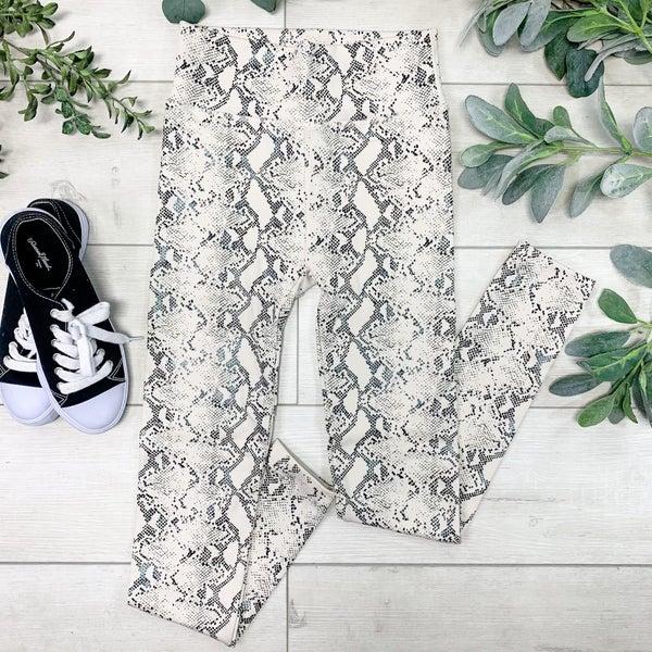 Snakeskin Print Fleece Leggings, Tan Black