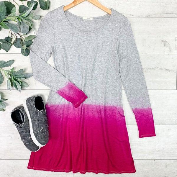 Ombre Swing Dress, Heather Gray/Magenta