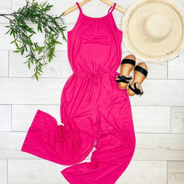 Strappy Adjustable Jumpsuit, Hot Pink