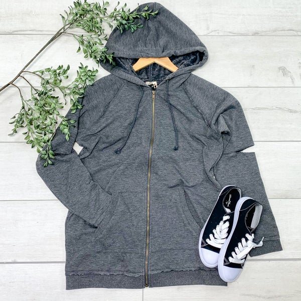 Zip Front Hooded Jacket, Dark Gray *Final Sale*