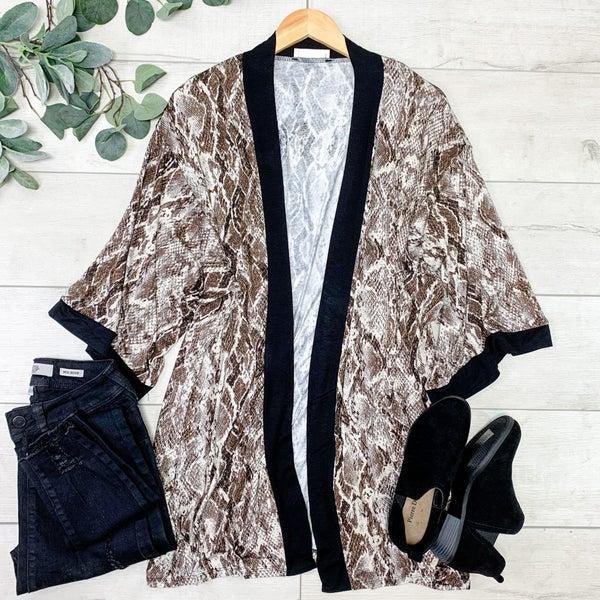 Snake Print Kimono, Tan Brown