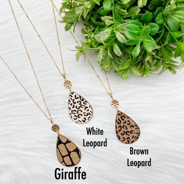 Animal Print Teardrop Long Necklace *Final Sale*