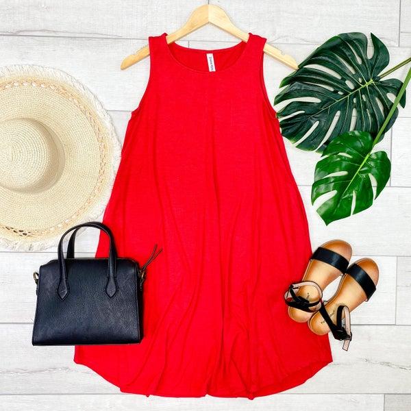 Solid Sleeveless Round Hem Dress, Ruby [[LIVE]]