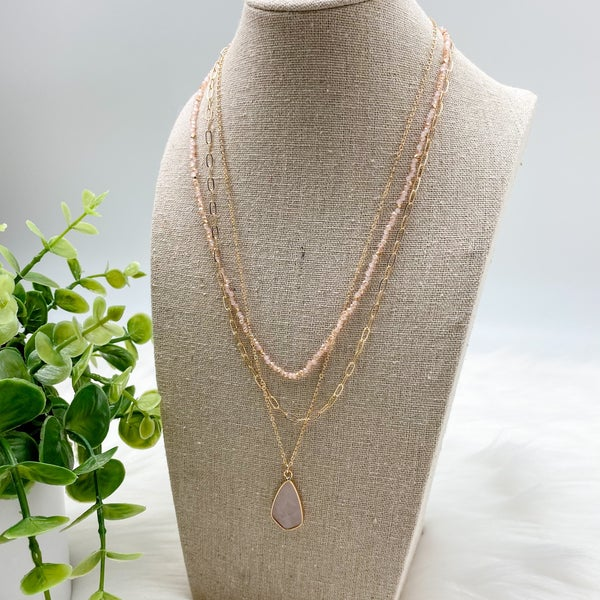 Short Layered Stone Necklace, Pink *Final Sale*