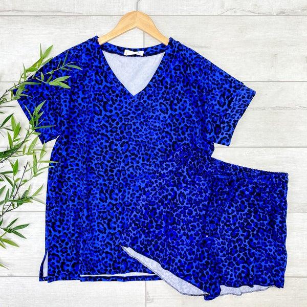 Leopard Print Shorts Set, Bright Blue