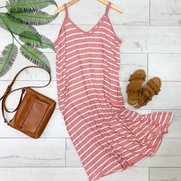 Striped Cami V-Neck Dress, Ash Rose