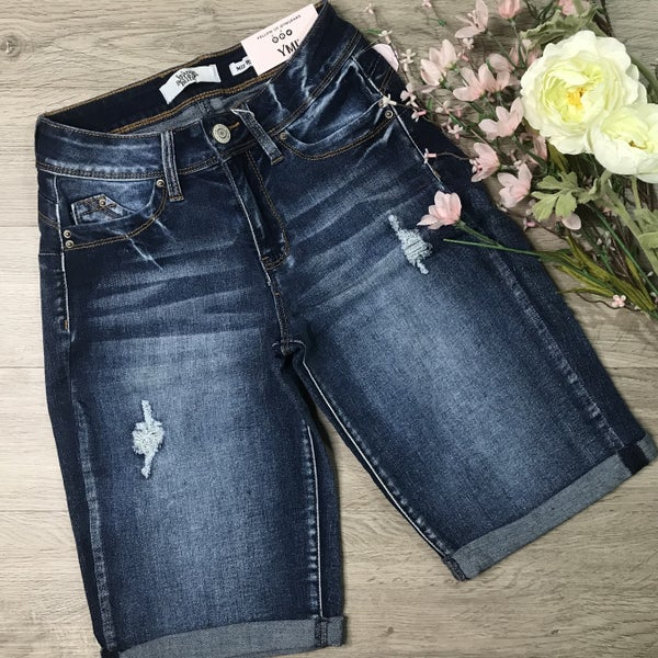 *Kendra's Collection* YMI Vintage Cuffed Shorts, Dark Denim