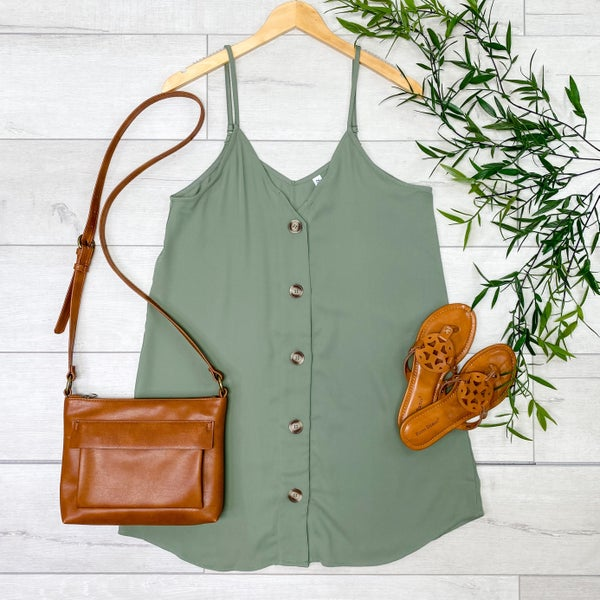 Woven Button Down Long Cami, Light Olive [[LIVE]]
