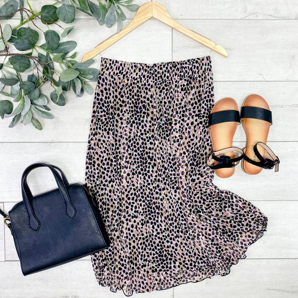 Pattern Print Skirt, Pink