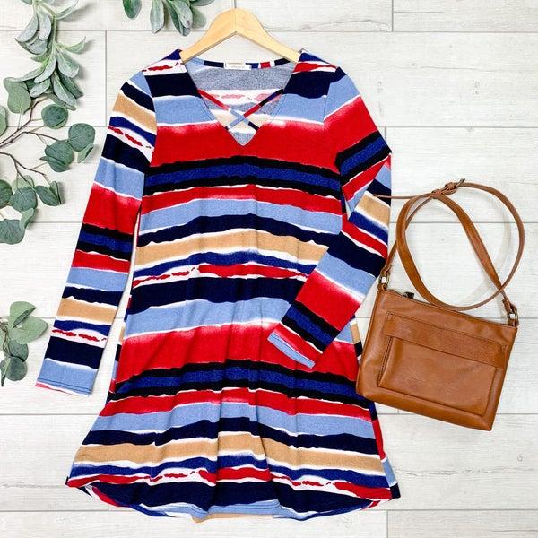 Striped Multi Color Dress, Blue/Red