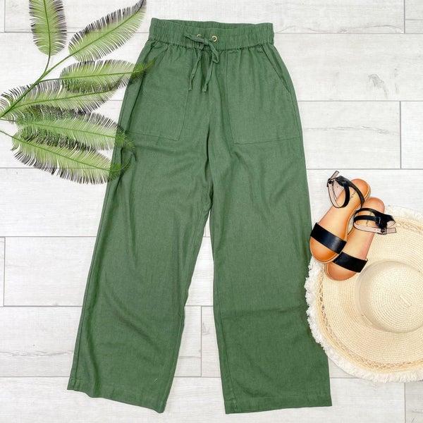 Linen Drawstring Pants, Ash Olive