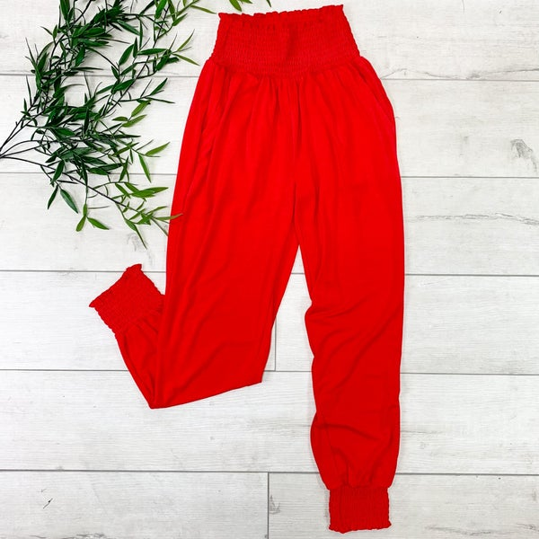 Smocked Lounge Pants, Ruby