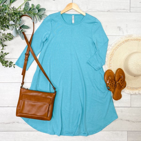 Solid Swing Dress w/Pockets, Ash Mint [[LIVE]]