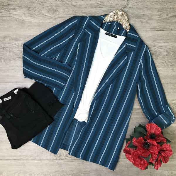 Open Front Jacket w/Rolled Sleeves, Teal